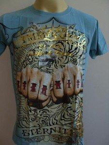 Emperor Eternity Double FIST Tattoo T-shirt Blue S
