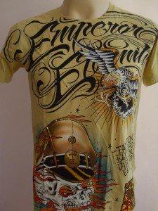 Emperor Eternity Skull Soilder Tattoo T-shirt Yellow S