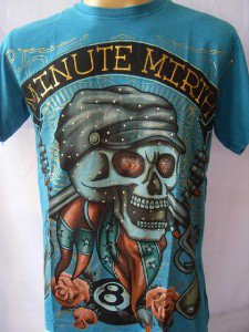 Minute Mirth Skull & Gun Tattoo T-shirt Blue L