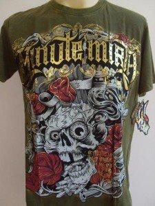 Minute Mirth Bullet Eater Skull Tattoo T-shirt Green L
