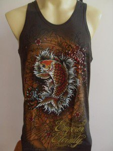 Emperor Eternity Glittering KOI Tattoo Tank Top gray L