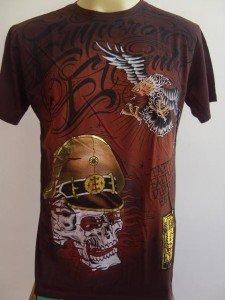 Emperor Eternity Skull Soilder Tattoo T-shirt brown L