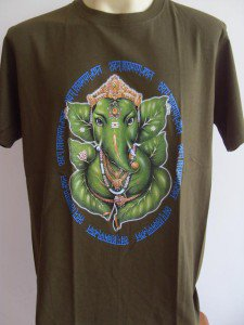 Ganesha Ganesh  Men T Shirt OM Hindu India Green L 17063 5814