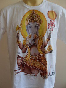 Ganesh Batik Paint shirt OM Hindu deity India Hinduism White L 18062 3929