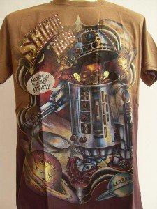 Minute Mirth Fake Robot Tattoo Men T-shirt Brown L