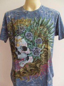 Minute Mirth Roses Skull Lady Men T-shirt Blue L