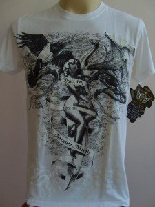 Minute Mirth Sexy ladyTattoo Men T-shirt White M