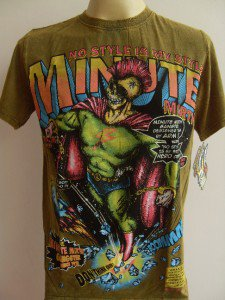 Minute Mirth Skull Mohawk one-eyed Superhero Tattoo  Men T-shirt  L