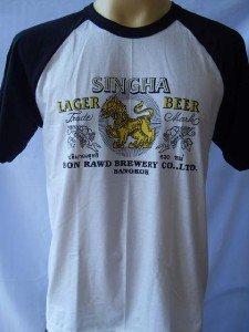 Thai SINGHA Beer Men T-shirt Tank Top White Singlet L