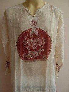 Ganesh Ganesha OM Men's T Shirt Hindu India Pale White  XL # red print
