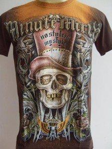 Minute Mirth High Hat Tattoo Men T-shirt Brown-rust M L #Br