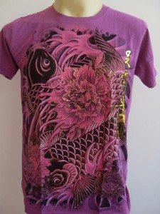 Emperor Eternity Double KOI Tattoo T-shirt Purple S