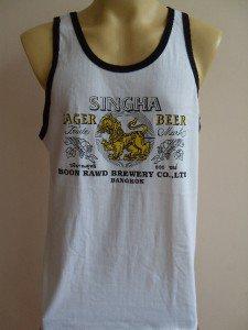 Thai SINGHA Beer Men T-shirt Tank Top White Singlet L #1
