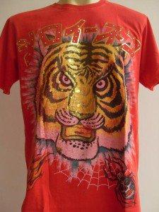 Minute Mirth Mask of Tiger Tattoo Men T-shirt Red L