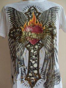 Minute Mirth Skull Winged Cross Tattoo T-shirt white L