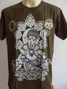 Ganesha Ganesh Men Shirt OM Hindu India Army Green L 17061 4645