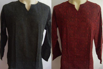 Ban chiang  Men's T Shirt Green & Red  L # thin cotton
