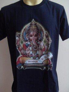 Ganesha Ganesh Men T Shirt OM Hindu India Blue L #SiBL