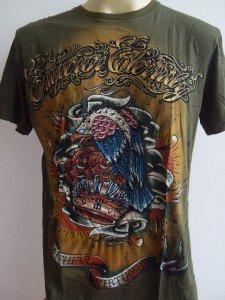 Emperor Eternity Glittering Hawk Tattoo T shirt Green L