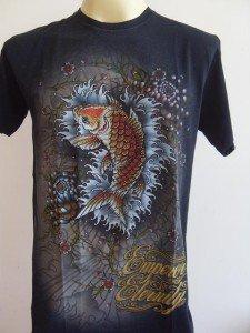 Emperor Eternity Glittering KOI Tattoo T-shirt Black L