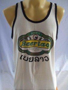 LAO Beer Men T-shirt Tank top  Singlet White M L XL 18059 3339