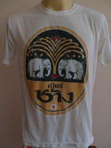 Thai Chang Beer Retro T-shirt Singlet White L #TH