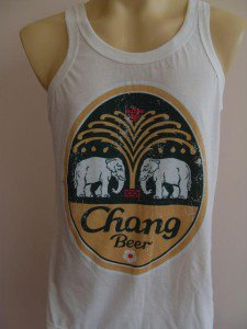 Thai Chang Beer Retro Tank Top Singlet White L