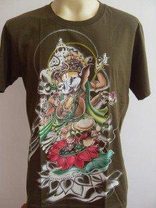Ganesha Ganesh  Men's T Shirt OM Hindu India green L