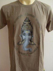Ganesha Ganesh Lord T Shirt OM Hindu India Brown M # H