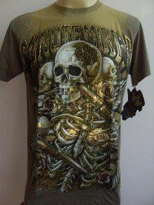 Minute Mirth Double Skull Gun Tattoo T shirt Yellow-brown L