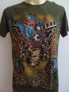 Emperor Eternity Glittering Winged Skull Tattoo T shirt  Light Green M