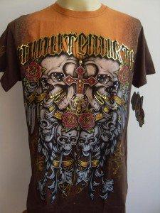 Minute Mirth Naughty Skull Tattoo Men T-shirt Brown L