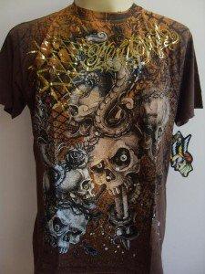 Minute Mirth Stabbed Skull Tattoo Men T-shirt Brown L