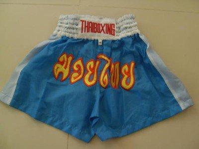 Muay Thai Kick Boxing shorts Nylon  Blue size M # MNSWR