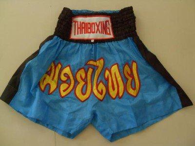 Muay Thai Kick Boxing shorts Nylon  Blue size M # MNSKR