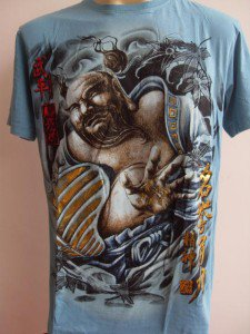 Emperor Eternity Hotei  Japanese Tattoo T shirt  Blue L