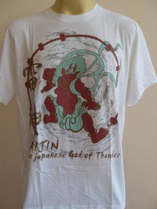RAIJIN Japanese Thunder God Men's T Shirt White L