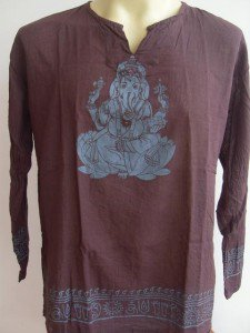 Ganesha Ganesh  Men's T Shirt OM Hindu India Brown L #D
