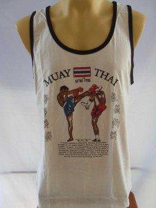 BOXING MUAY THAI FIGHTING White Tank Top T shirt L