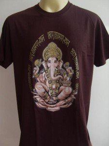 Ganesha Ganesh Lord T Shirt OM Hindu India Brown L #Si