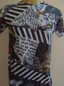 Minute Mirth Film Skull Tattoo Men T-shirt White M