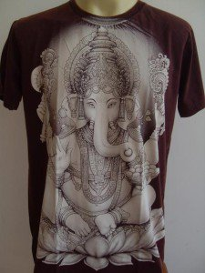 Ganesha Ganesh Men T Shirt OM Hindu India Brown L #SW8