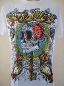 Emperor Eternity Skull Wand Tattoo T-shirt White L
