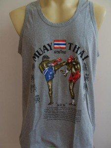 BOXING MUAY THAI FIGHTING Gray Tank Top T shirt L
