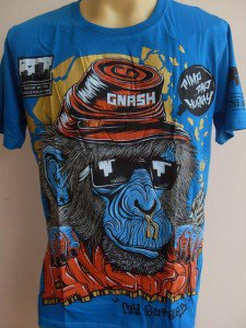 Gnash Hip Hop Runny Nose Chimpanzee Tattoo Men T-shirt Blue M