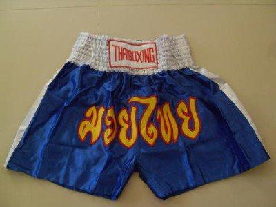 Muay Thai Kick Boxing shorts Satin Blue size 2XL  # 2SBWR