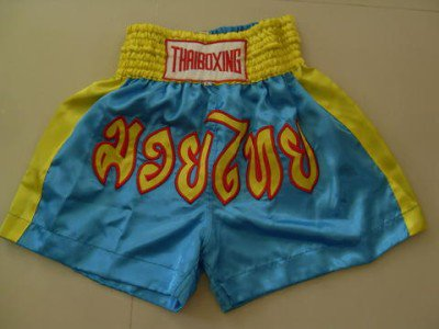 Muay Thai Kick Boxing shorts Satin Blue size XL # XSSYR
