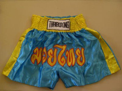 Muay Thai Kick Boxing shorts Satin Blue size 3XL # 3SSYK