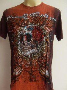 Emperor Eternity Skull Wand Tattoo T-shirt Brown L