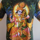 Lord Krishna and Radha Music Men T Shirt OM Hindu India L K06